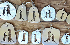 Meerkat silver jewelry pendants and earrings