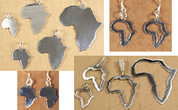 Africa shaped pendants, charms, earrings in 930 sterling silver.