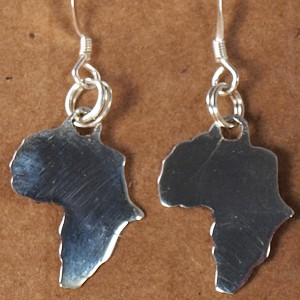 Shiny Africa shaped earrings