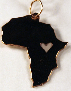 Gold Africa pendant with heart cutout