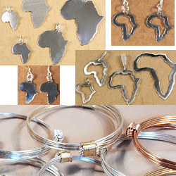 Africa shaped jewelry and collection of elephant hair bracelets