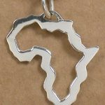 Large Africa outline silver pendant
