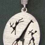 Giraffe, buck, bushman rock art silver pendant