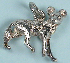 Sterling silver wild dog charm