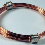 Copper bracelet with silver knots