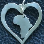Africa shape floating moving in heart