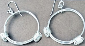 Elephant hair knot earrings in sterling