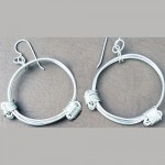 silver elephant hair knot earrings