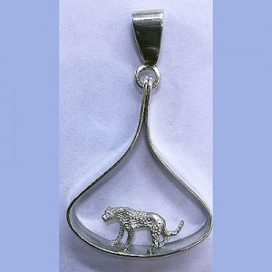 Solid 3d leopard in hanging pendant