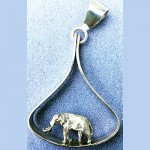 Elephant charm in teardrop pendant