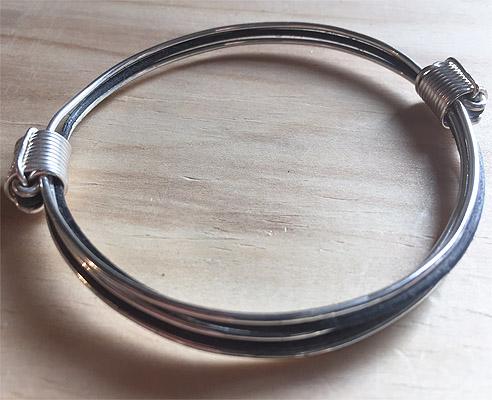 Black and silver elephant hair knot bracelet