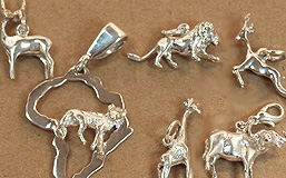 Wild animal 3D charms in sterling silver