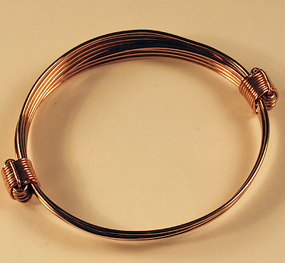 Narrow 3 strand all copper bracelet