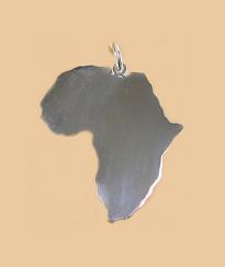 Plain shiny silver africa pendant
