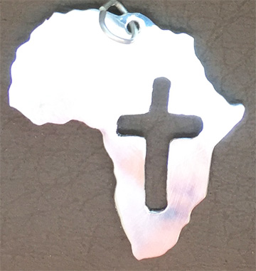 Africa shape pendant with rugged cutout cross