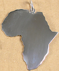 Africa outline pendant in silver