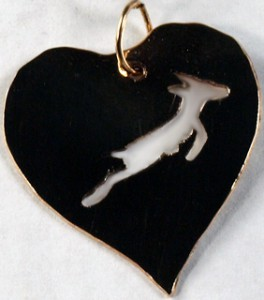 Springbok in gold heart pendant