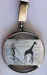 Sterling silver rock art african pendant