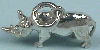 Solid sterling silver 3D rhino