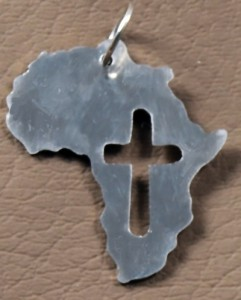 Africa shaped pendant and cross