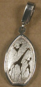 Small sterling silver african figures pendant