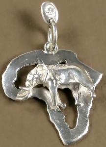 Elephant charm on Africa outline shape