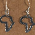 Africa shaped sterling silver earrings