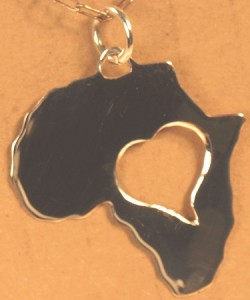 heart cutout of Africa Pendant
