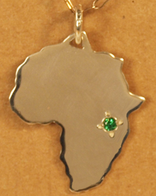 Africa pendant with gemstone marker