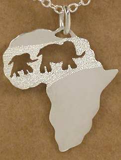 Mother and baby elephant in Africa pendant