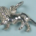 African male lion silver charm