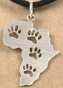 Africa with paw prints pendant