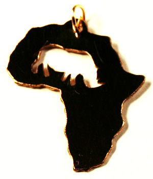 rhino in africa shaped pendant
