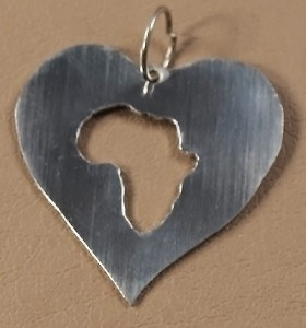 Heart shaped pendant with Africa cutout