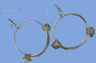 Elephant hair gold knot earrings