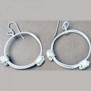 silver elephant hair knot earrings
