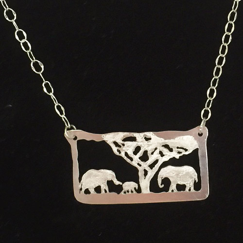 Elephant tree silver jewelry necklace