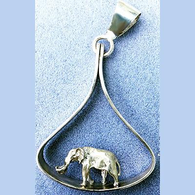 Elephant charm in teardrop pendant