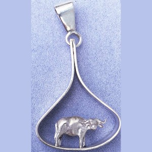 Cape Buffalo 3d Charm Pendant
