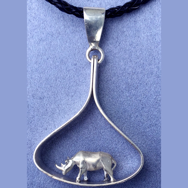 3D solid silver rhino in teardrop