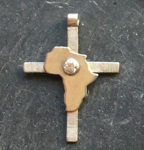 Small goldAfrica over silver cross