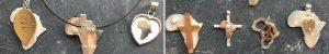Africa cross heart shield pendants
