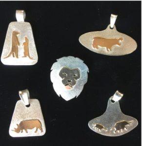 lion pendant, rhino pendant