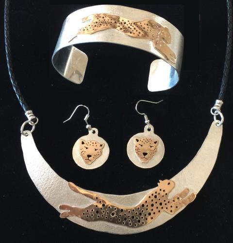 cheetah gold jewelry set bangle earrings and neckpiece