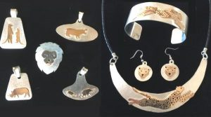 Silver and gold African wildlife jewelry