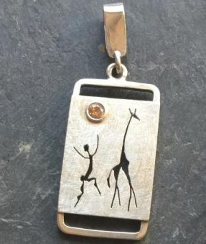 Framed rock art pendant