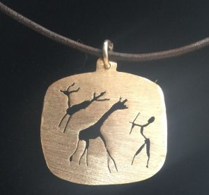 Rounded square rock art figures pendant #africa figures