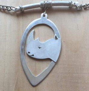 Framed rhino in sterling silver