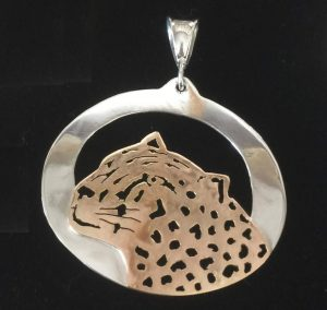 Big gold leopard head pendant