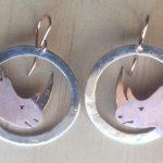 Rose gold round rhino earrings